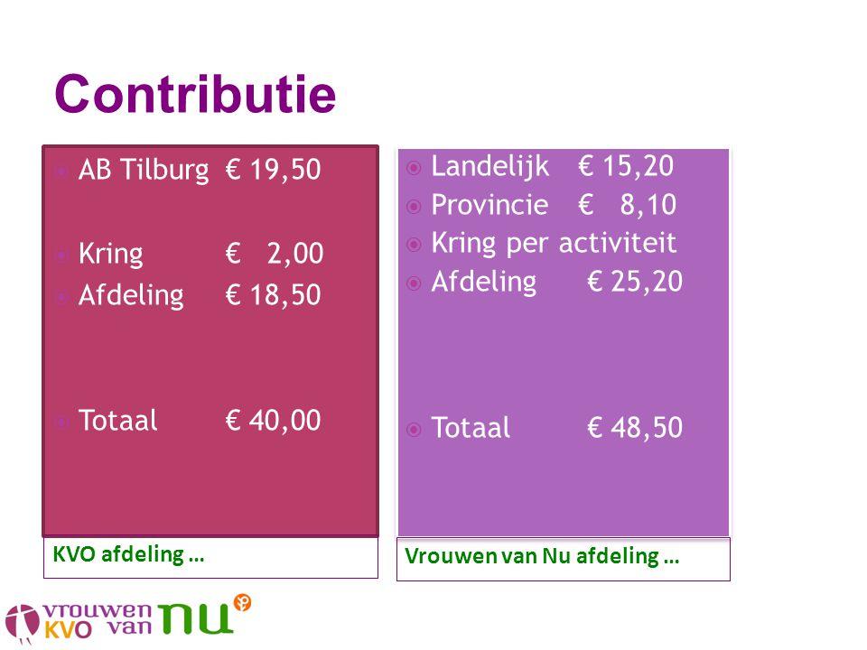  AB Tilburg€ 19,50  Kring€ 2,00  Afdeling€ 18,50  Totaal€ 40,00  Landelijk€ 15,20  Provincie€ 8,10  Kring per activiteit  Afdeling € 25,20  T