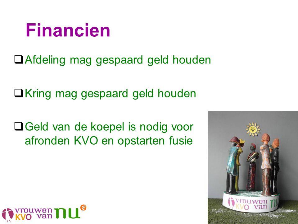 Financien  Afdeling mag gespaard geld houden  Kring mag gespaard geld houden  Geld van de koepel is nodig voor afronden KVO en opstarten fusie