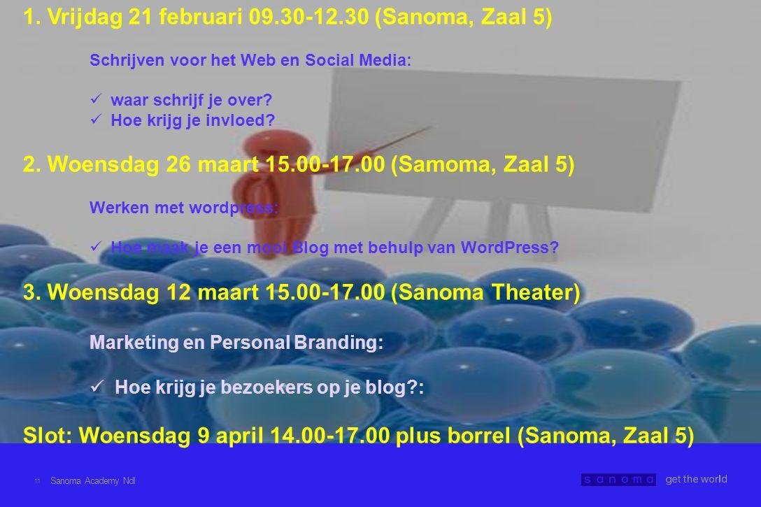 11 1. Vrijdag 21 februari 09.30-12.30 (Sanoma, Zaal 5) Schrijven voor het Web en Social Media:  waar schrijf je over?  Hoe krijg je invloed? 2. Woen