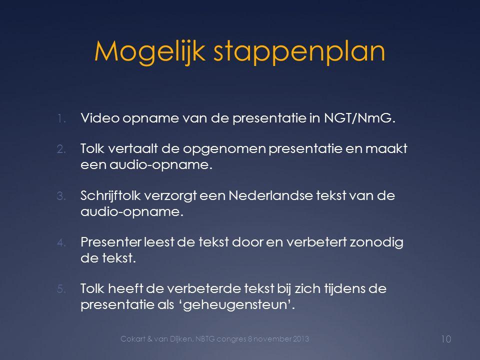 Mogelijk stappenplan 1. Video opname van de presentatie in NGT/NmG. 2. Tolk vertaalt de opgenomen presentatie en maakt een audio-opname. 3. Schrijftol