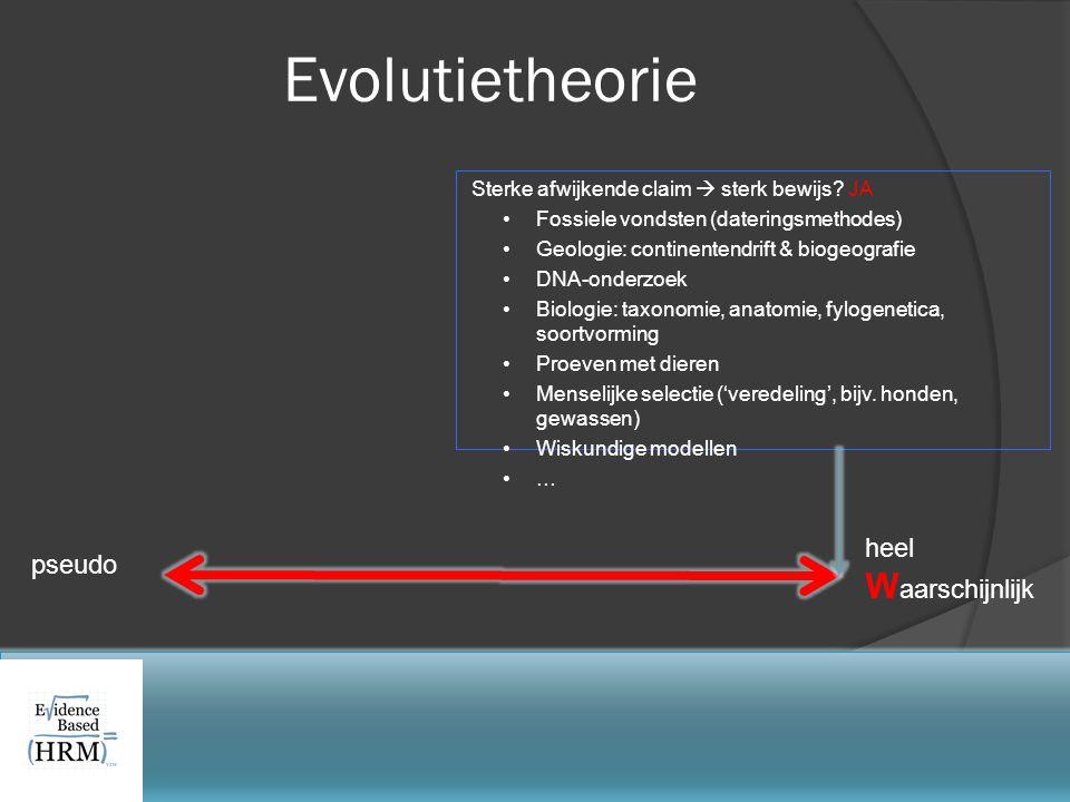 Sterke afwijkende claim  sterk bewijs? JA •Fossiele vondsten (dateringsmethodes) •Geologie: continentendrift & biogeografie •DNA-onderzoek •Biologie: