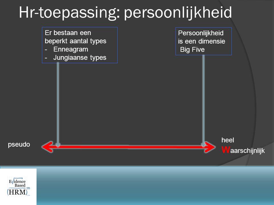 pseudo heel W aarschijnlijk Hr-toepassing: persoonlijkheid Persoonlijkheid is een dimensie Big Five Er bestaan een beperkt aantal types -Enneagram -Ju