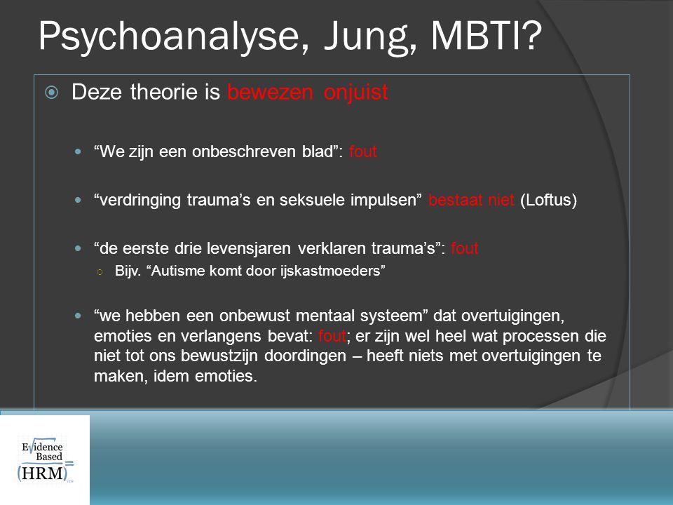 """Psychoanalyse, Jung, MBTI?  Deze theorie is bewezen onjuist  """"We zijn een onbeschreven blad"""": fout  """"verdringing trauma's en seksuele impulsen"""" bes"""