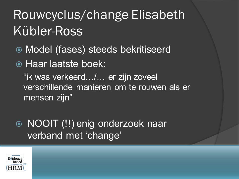"""Rouwcyclus/change Elisabeth Kübler-Ross  Model (fases) steeds bekritiseerd  Haar laatste boek: """"ik was verkeerd…/… er zijn zoveel verschillende mani"""