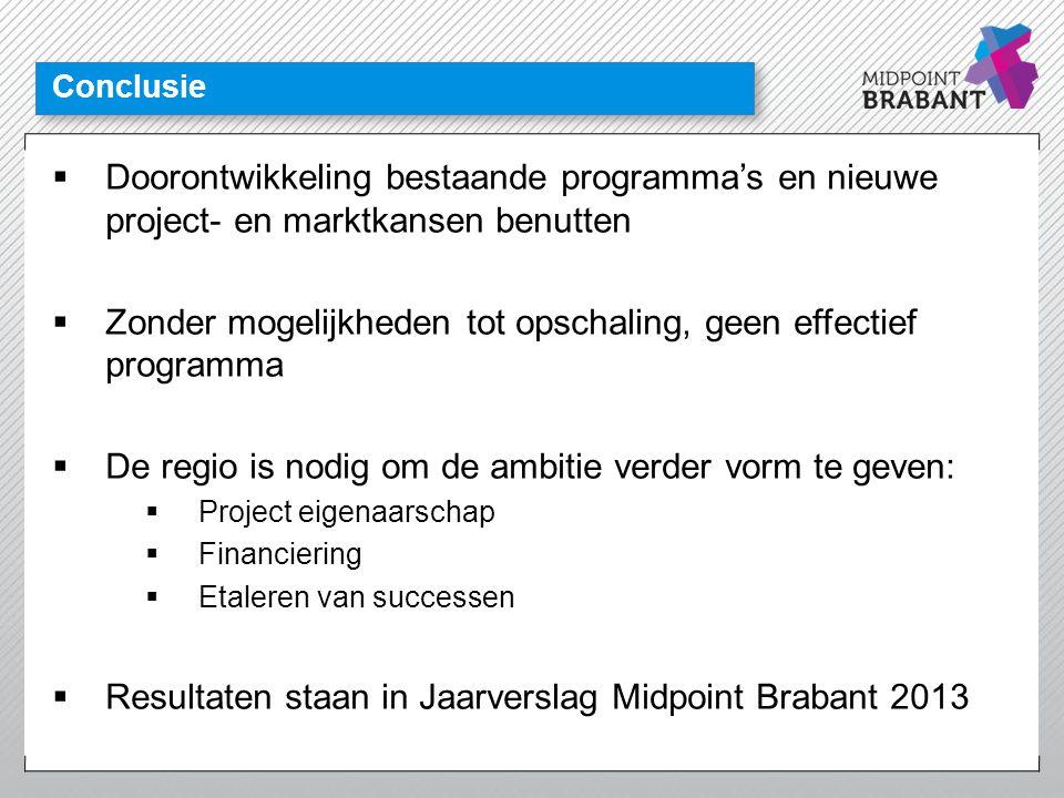 Conclusie  Doorontwikkeling bestaande programma's en nieuwe project- en marktkansen benutten  Zonder mogelijkheden tot opschaling, geen effectief pr