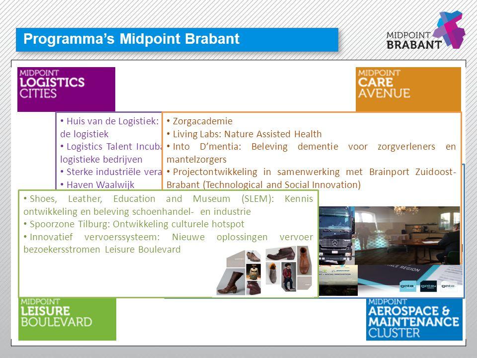 Programma's Midpoint Brabant • Huis van de Logistiek: Centrum voor arbeid, kennis en opleiding in de logistiek • Logistics Talent Incubator: Kweekprog