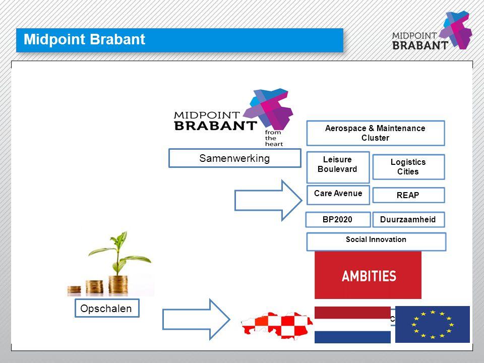 Doorontwikkeling clusters in Brabant 1) Chemie 2) Logistiek 1) High tech systemen en materialen 2) Chemie 3) Life Sciences & Health 4) Creatieve industrie 1) Chemie 2) HTSM- maakindustrie