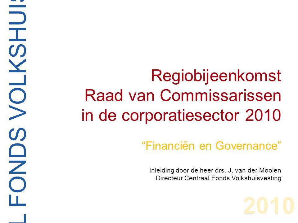 CENTRAAL FONDS VOLKSHUISVESTING Regiobijeenkomst Raad van Commissarissen in de corporatiesector 2010 Financiën en Governance Inleiding door de heer drs.