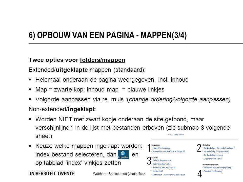 6) OPBOUW VAN EEN PAGINA - MAPPEN(3/4) Twee opties voor folders/mappen Extended/uitgeklapte mappen (standaard):  Helemaal onderaan de pagina weergegeven, incl.