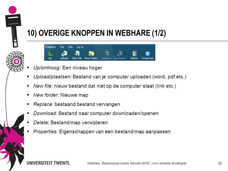 10) OVERIGE KNOPPEN IN WEBHARE (1/2)  Up/omhoog: Een niveau hoger  Upload/plaatsen: Bestand van je computer uploaden (word, pdf etc.)  New file: ni