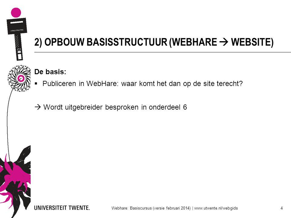 6) OPBOUW VAN EEN PAGINA – LOSSE BESTANDEN (2/4) Andere bestanden (alles behalve het indexbestand mappen)  Linkjes, word documenten, pdf, ppt, etc …  Opsomming onder het indexbestand (indien titel ingevuld) Webhare: Basiscursus (versie februari 2014) | www.utwente.nl/webgids 15 INDEXBESTAND