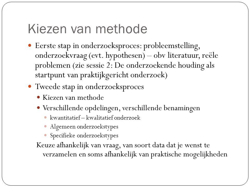 Kiezen van methoden (tabel uit Dieussaert, Smits, & Goubin, 2011) Doel van het onderzoek Wat?Kwantitatieve benadering Kwalitatieve benadering WetenBeschrijven van een situatie, definiëren van een concept Hoe vaak komt iets voor.