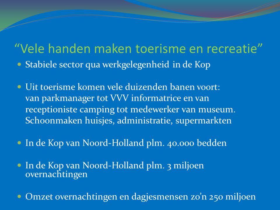 """""""Vele handen maken toerisme en recreatie""""  Stabiele sector qua werkgelegenheid in de Kop  Uit toerisme komen vele duizenden banen voort: van parkman"""