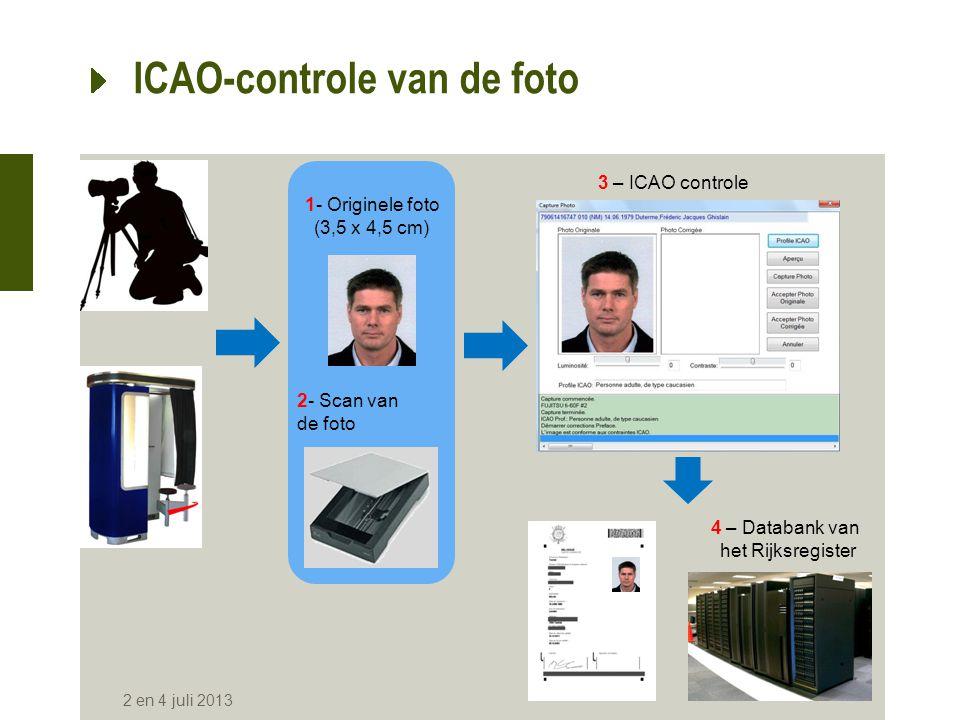 ICAO-controle van de foto •Berekening van de afmetingen voor de kwaliteitsanalyse van een opname •Nagaan van de overeenstemming van deze opname met de ICAO-specificaties •De berekeningsmethode verbetert de kwaliteit van de foto niet.