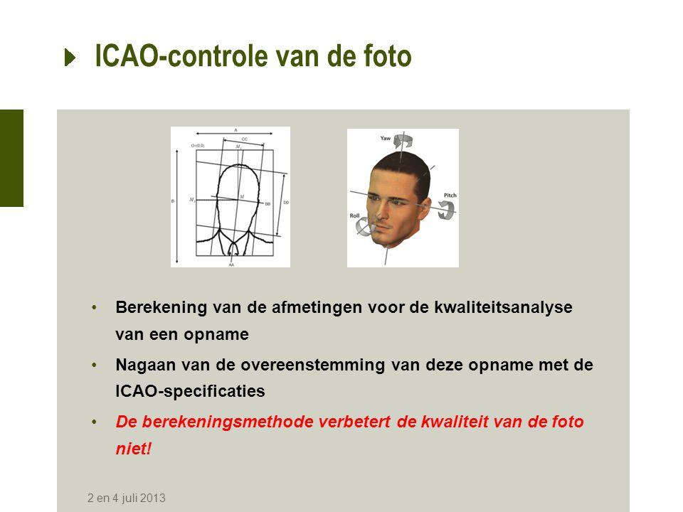 Kwaliteit van de foto •Originele foto in kleur of in zwart-wit •De verblijfkaart heeft de foto in zwart-wit •Afmetingen respecteren (3,5 cm x 4,5 cm) •Een duidelijke afsnijding van de foto is nodig (storende rand bij de scan) •Visuele controle van de kwaliteit van de foto blijft noodzakelijk (zie gebruik van de fotomatrix) •Plaatsing van de foto voor het scannen: in de rechterbovenhoek •Scanner met deksel afsluiten bij het scannen is noodzakelijk 2 en 4 juli 2013