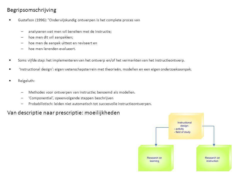 Ontwikkeling van de instructional design benadering  Onderwijskundig ontwerpen jonge discipline.