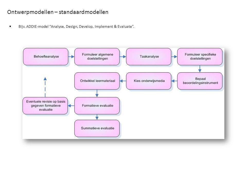 """Ontwerpmodellen – standaardmodellen  Bijv. ADDIE-model """"Analyse, Design, Develop, Implement & Evaluate""""."""