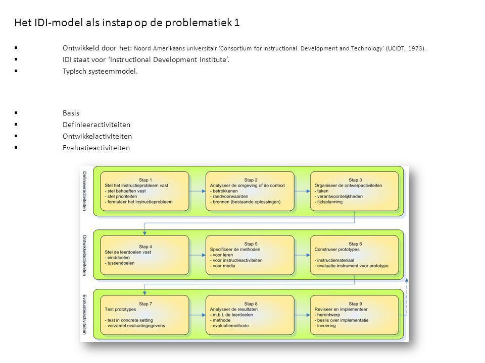  Basis  Definieeractiviteiten  Ontwikkelactiviteiten  Evaluatieactiviteiten Het IDI-model als instap op de problematiek 1  Ontwikkeld door het: N