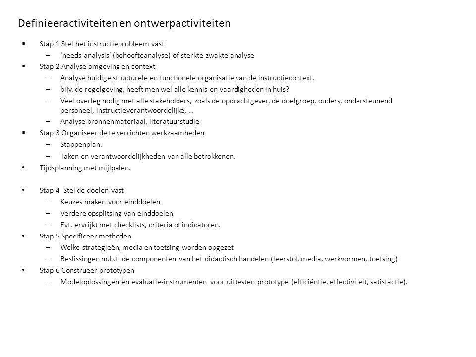 Definieeractiviteiten en ontwerpactiviteiten  Stap 1 Stel het instructieprobleem vast – 'needs analysis' (behoefteanalyse) of sterkte-zwakte analyse