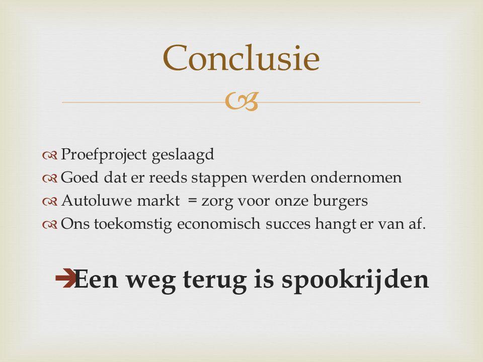   Proefproject geslaagd  Goed dat er reeds stappen werden ondernomen  Autoluwe markt = zorg voor onze burgers  Ons toekomstig economisch succes hangt er van af.