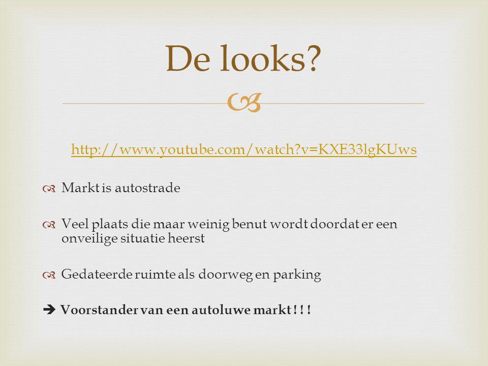  http://www.youtube.com/watch v=KXE33lgKUws  Markt is autostrade  Veel plaats die maar weinig benut wordt doordat er een onveilige situatie heerst  Gedateerde ruimte als doorweg en parking  Voorstander van een autoluwe markt .