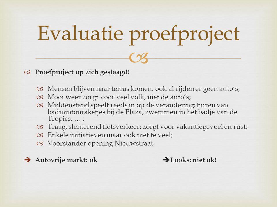   Proefproject op zich geslaagd.