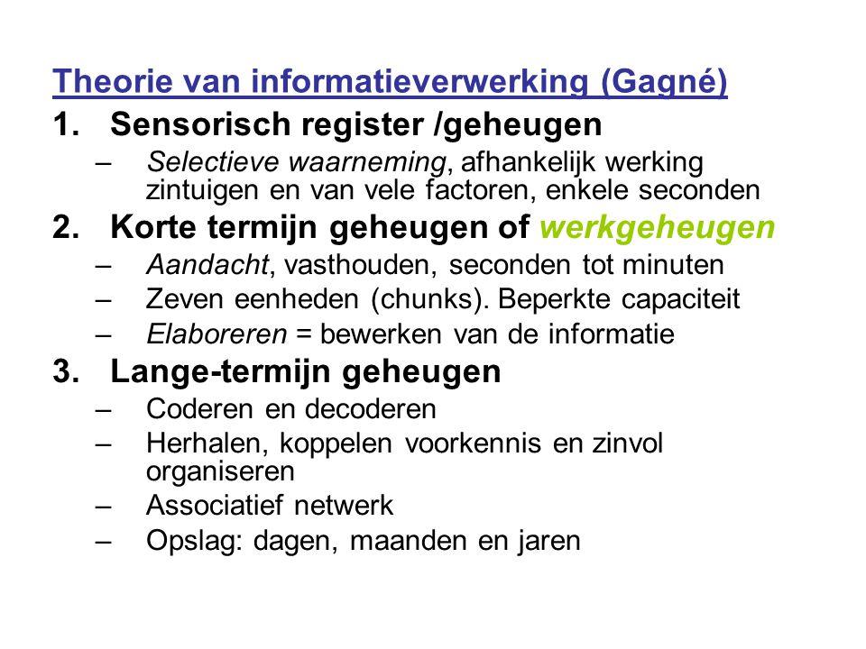 Theorie van informatieverwerking (Gagné) 1.Sensorisch register /geheugen –Selectieve waarneming, afhankelijk werking zintuigen en van vele factoren, e
