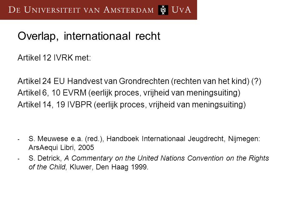 Overlap, internationaal recht Artikel 12 IVRK met: Artikel 24 EU Handvest van Grondrechten (rechten van het kind) (?) Artikel 6, 10 EVRM (eerlijk proc
