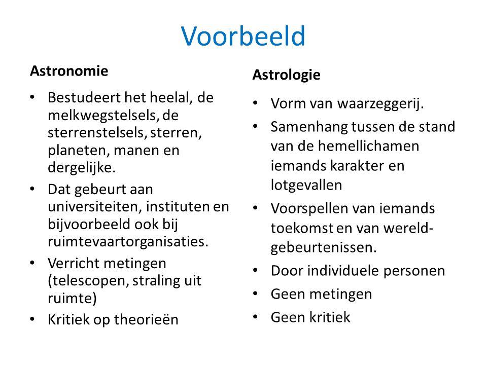 Voorbeeld Astronomie • Bestudeert het heelal, de melkwegstelsels, de sterrenstelsels, sterren, planeten, manen en dergelijke. • Dat gebeurt aan univer
