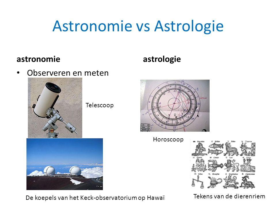 Astronomie vs Astrologie astronomie • Observeren en meten astrologie De koepels van het Keck-observatorium op Hawaï Telescoop Horoscoop Tekens van de