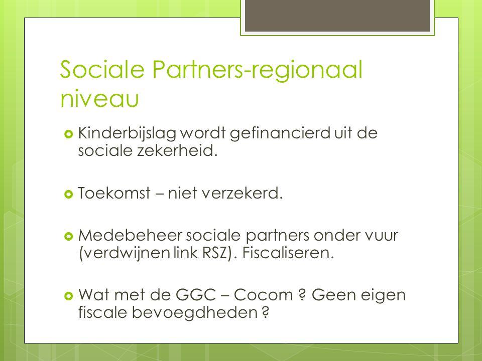 Sociale Partners-regionaal niveau  Kinderbijslag wordt gefinancierd uit de sociale zekerheid.  Toekomst – niet verzekerd.  Medebeheer sociale partn
