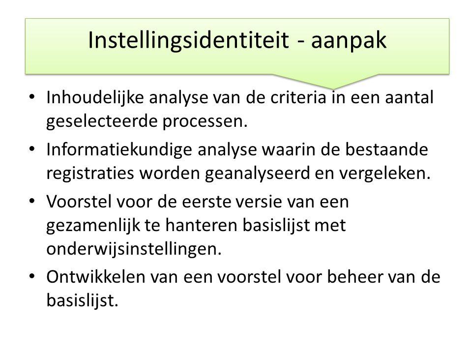 • Inhoudelijke analyse van de criteria in een aantal geselecteerde processen. • Informatiekundige analyse waarin de bestaande registraties worden gean