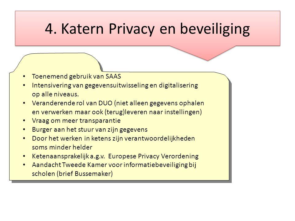 4. Katern Privacy en beveiliging • Toenemend gebruik van SAAS • Intensivering van gegevensuitwisseling en digitalisering op alle niveaus. • Veranderen