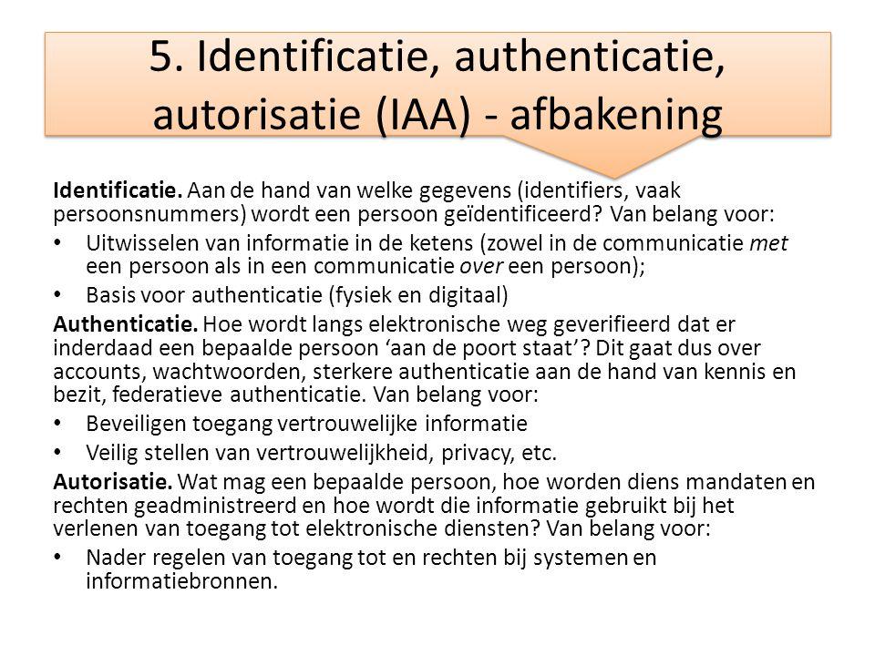 5. Identificatie, authenticatie, autorisatie (IAA) - afbakening Identificatie. Aan de hand van welke gegevens (identifiers, vaak persoonsnummers) word