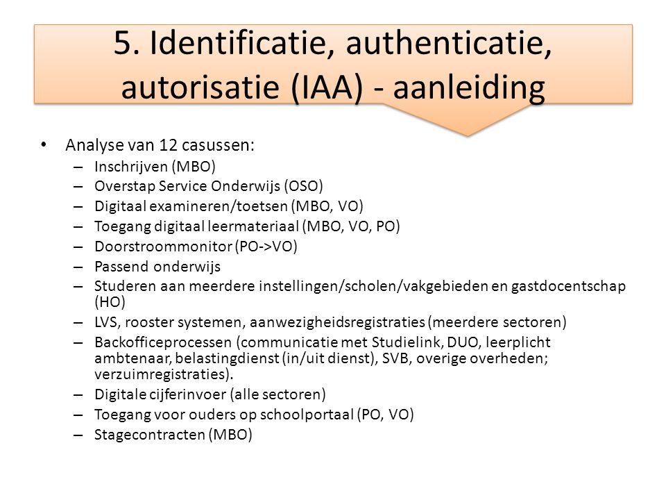 5. Identificatie, authenticatie, autorisatie (IAA) - aanleiding • Analyse van 12 casussen: – Inschrijven (MBO) – Overstap Service Onderwijs (OSO) – Di