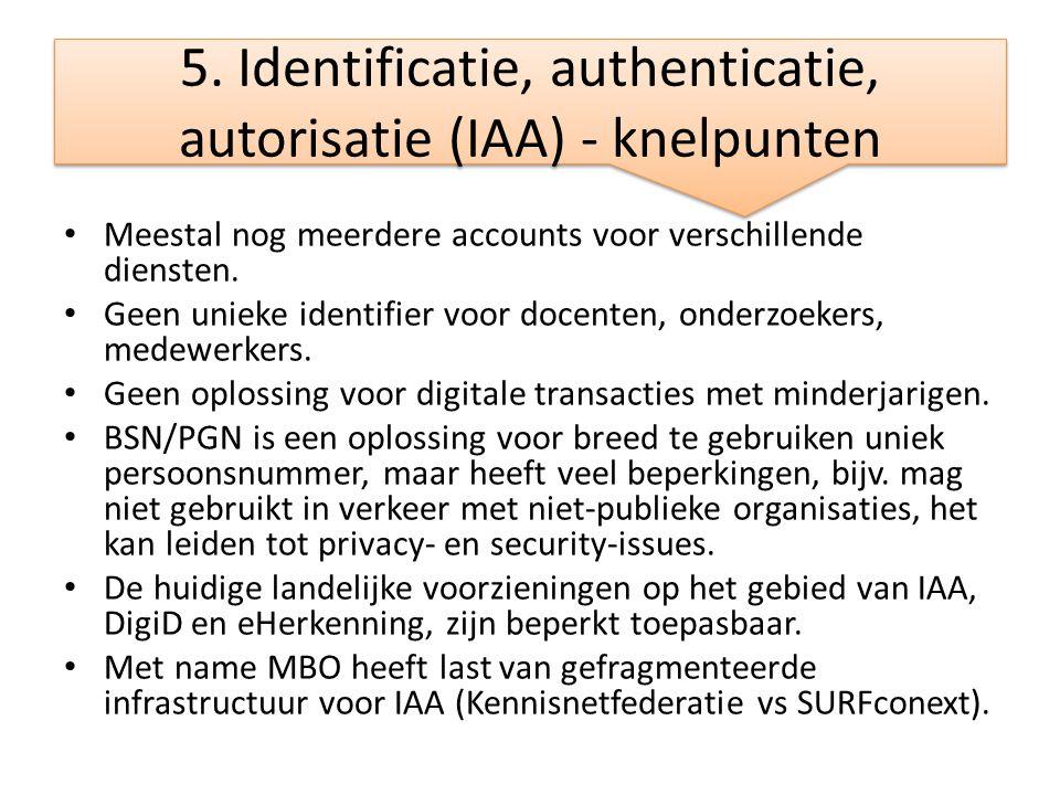 5. Identificatie, authenticatie, autorisatie (IAA) - knelpunten • Meestal nog meerdere accounts voor verschillende diensten. • Geen unieke identifier