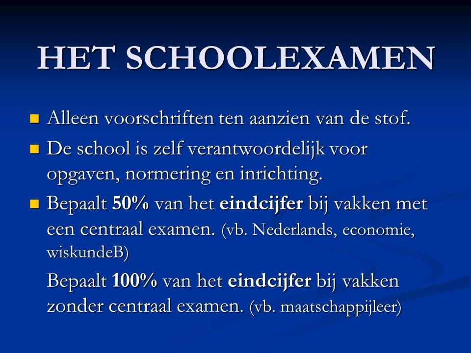 HET SCHOOLEXAMEN  Alleen voorschriften ten aanzien van de stof.  De school is zelf verantwoordelijk voor opgaven, normering en inrichting.  Bepaalt