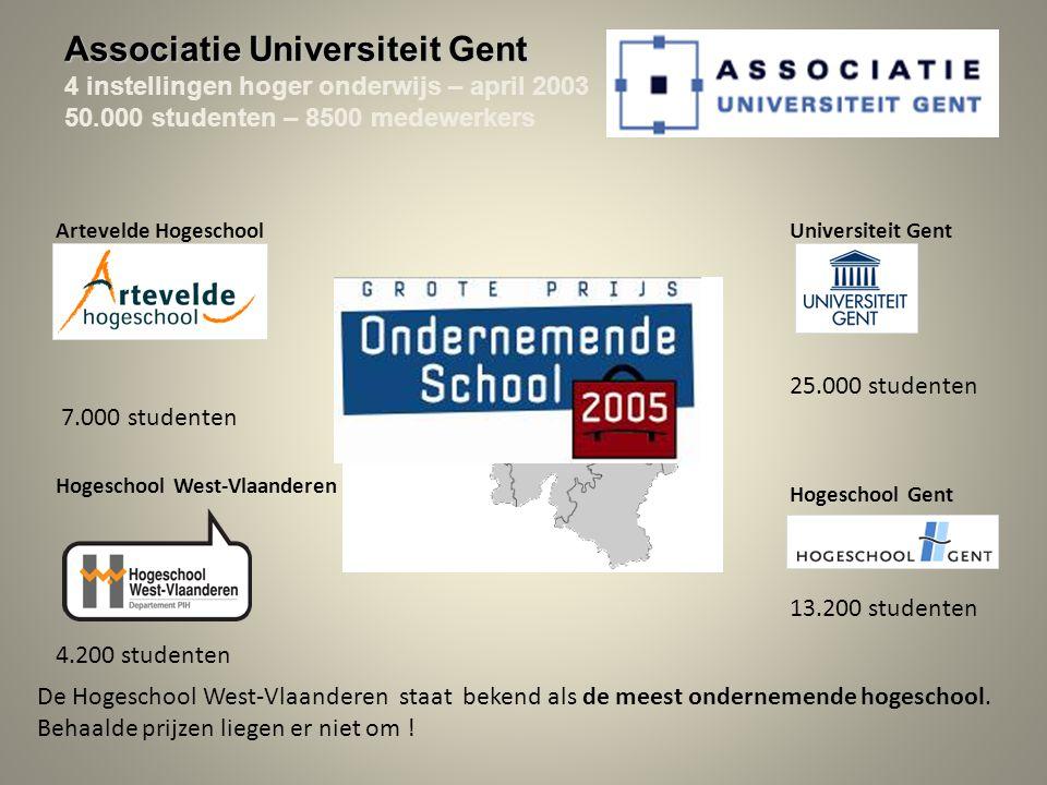 Associatie Universiteit Gent 4 instellingen hoger onderwijs – april 2003 50.000 studenten – 8500 medewerkers Hogeschool West-Vlaanderen 4.200 studenten De Hogeschool West-Vlaanderen staat bekend als de meest ondernemende hogeschool.