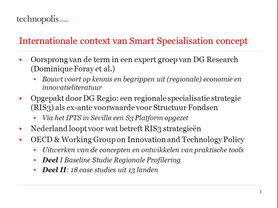 Internationale context van Smart Specialisation concept • Oorsprong van de term in een expert groep van DG Research (Dominique Foray et al.) • Bouwt v