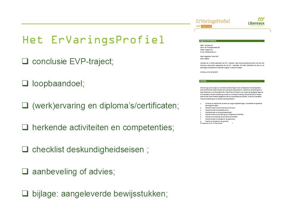  conclusie EVP-traject;  loopbaandoel;  (werk)ervaring en diploma's/certificaten;  herkende activiteiten en competenties;  checklist deskundighei