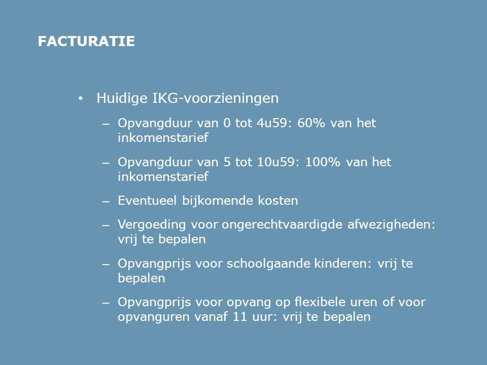• Huidige IKG-voorzieningen – Opvangduur van 0 tot 4u59: 60% van het inkomenstarief – Opvangduur van 5 tot 10u59: 100% van het inkomenstarief – Eventu