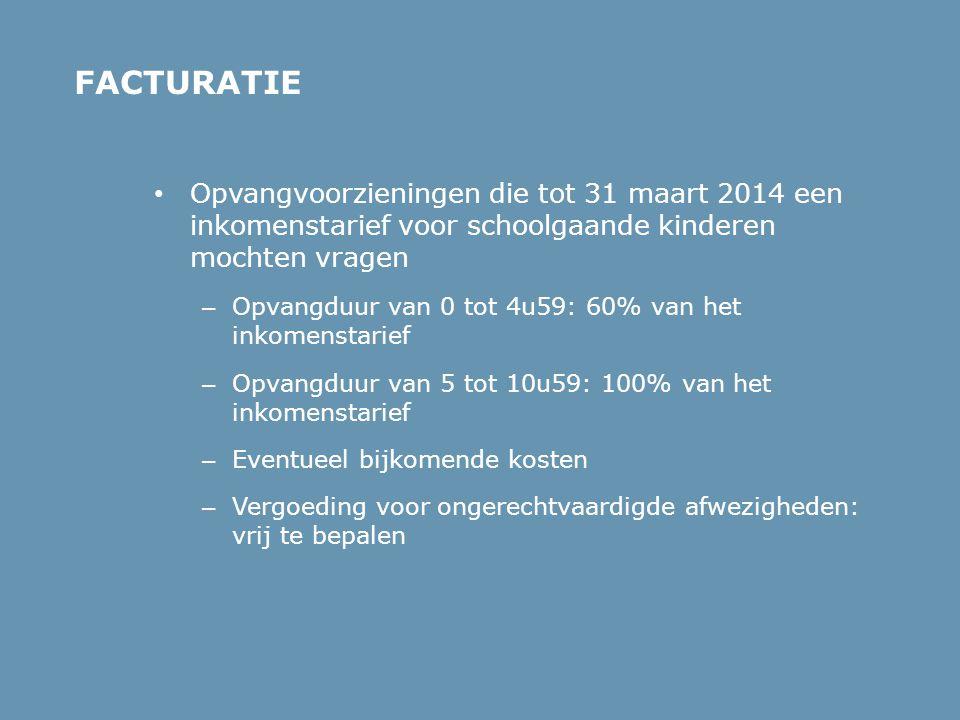 • Opvangvoorzieningen die tot 31 maart 2014 een inkomenstarief voor schoolgaande kinderen mochten vragen – Opvangduur van 0 tot 4u59: 60% van het inko