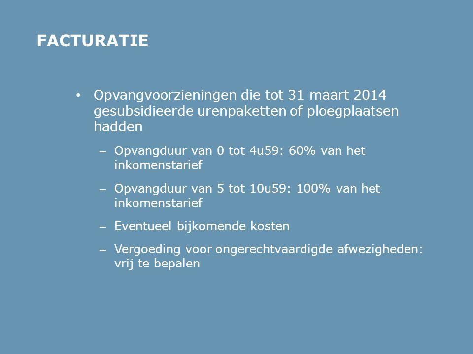 • Opvangvoorzieningen die tot 31 maart 2014 gesubsidieerde urenpaketten of ploegplaatsen hadden – Opvangduur van 0 tot 4u59: 60% van het inkomenstarie