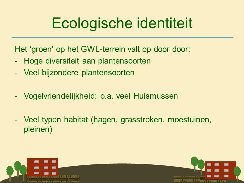 Ecologische identiteit Het 'groen' op het GWL-terrein valt op door door: -Hoge diversiteit aan plantensoorten -Veel bijzondere plantensoorten -Vogelvr