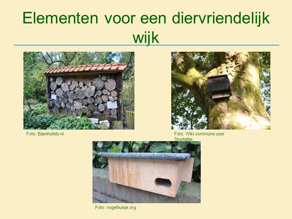 Elementen voor een diervriendelijk wijk Foto: Wiki commons user Stunteltje Foto: Bijenhotels.nl Foto: vogelhuisje.org