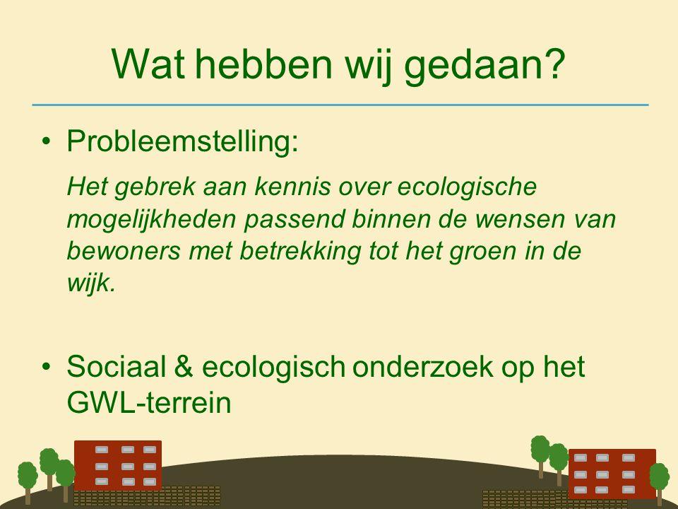Wat hebben wij gedaan? •Probleemstelling: Het gebrek aan kennis over ecologische mogelijkheden passend binnen de wensen van bewoners met betrekking to