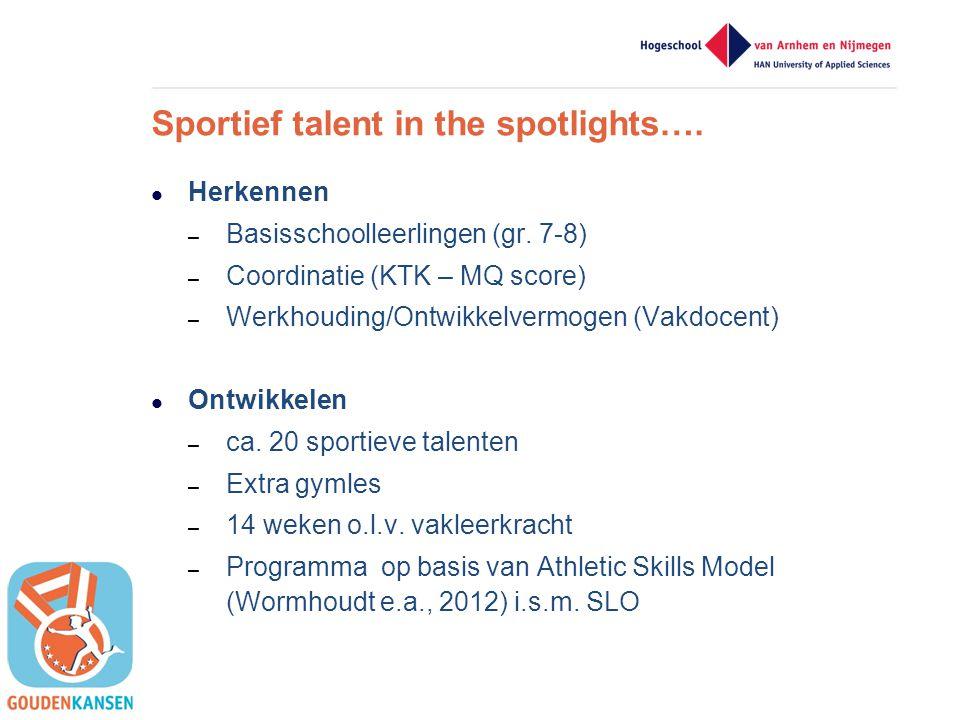 Sportief talent in the spotlights….  Herkennen – Basisschoolleerlingen (gr. 7-8) – Coordinatie (KTK – MQ score) – Werkhouding/Ontwikkelvermogen (Vakd