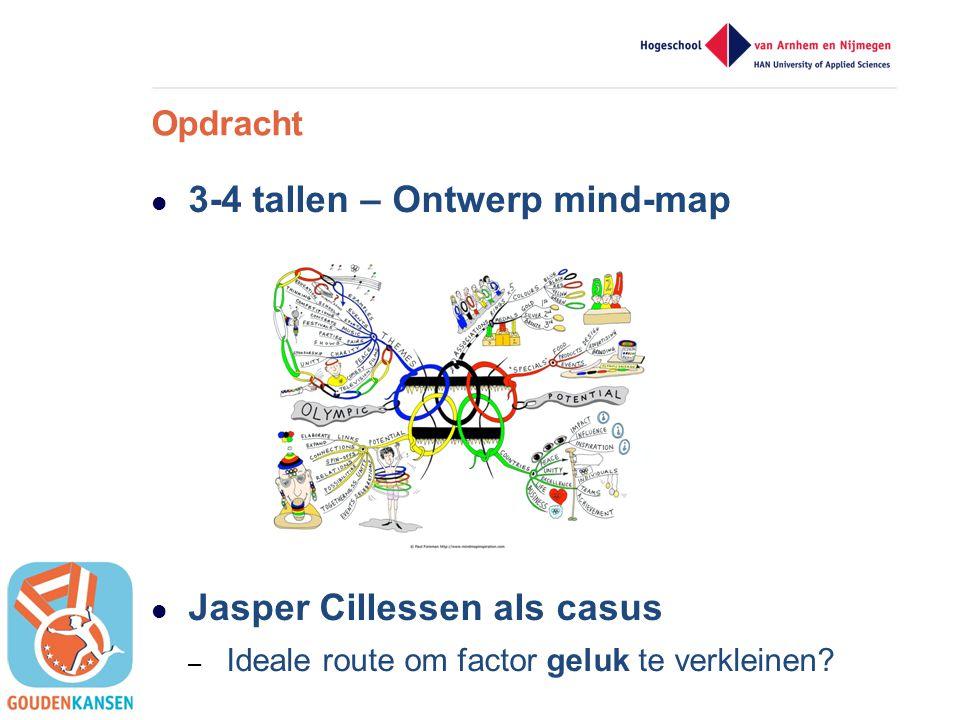  3-4 tallen – Ontwerp mind-map  Jasper Cillessen als casus – Ideale route om factor geluk te verkleinen? Opdracht