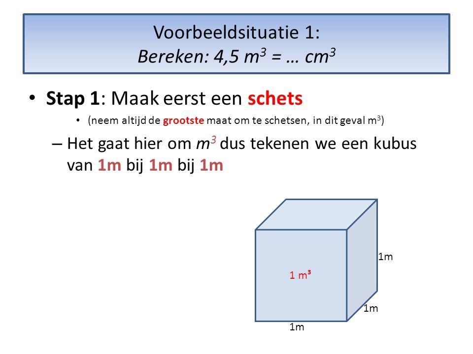 Voorbeeldsituatie 1: Bereken: 4,5 m 3 = … cm 3 • Stap 1: Maak eerst een schets • (neem altijd de grootste maat om te schetsen, in dit geval m 3 ) – Het gaat hier om m 3 dus tekenen we een kubus van 1m bij 1m bij 1m 1 m³ 1m