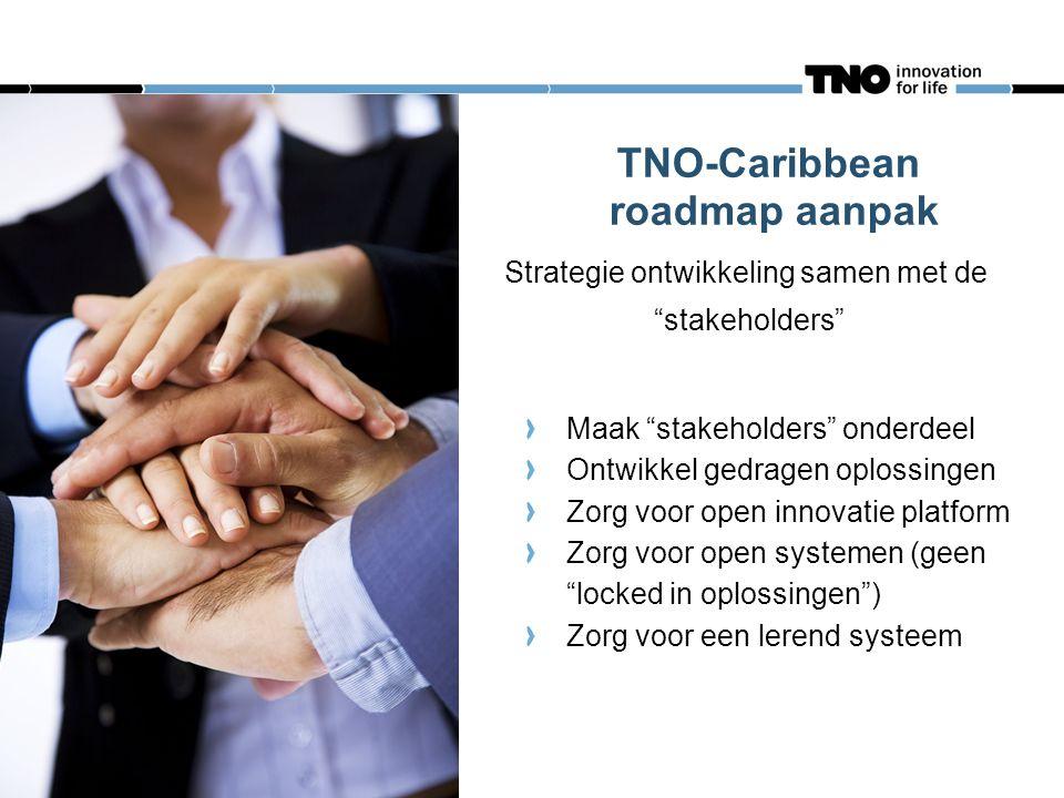 TNO-Caribbean roadmap aanpak Strategie ontwikkeling samen met de stakeholders Maak stakeholders onderdeel Ontwikkel gedragen oplossingen Zorg voor open innovatie platform Zorg voor open systemen (geen locked in oplossingen ) Zorg voor een lerend systeem